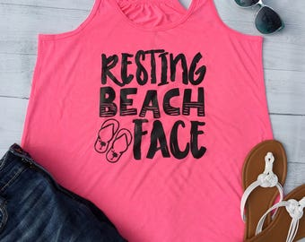 Womens Tank Tops, Resting Beach Face, Beach Shirt, RBF, Boat tank top, Tank Mermaid, Boat shirt, sailing shirt, Summer Outdoors, XXL, FL10B