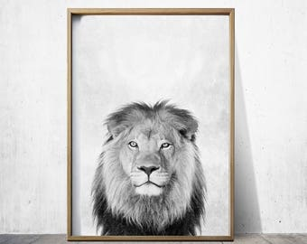 Lion Art Lion Print Lion Wall Art Print Lion Poster Digital Download Print