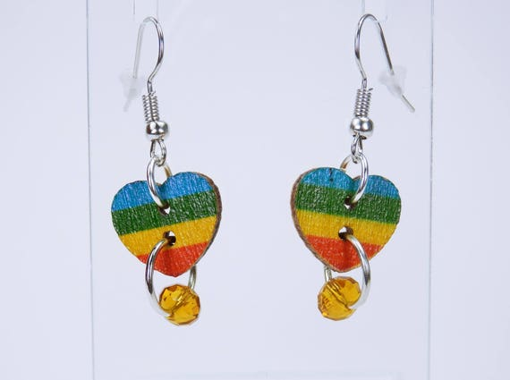 Earrings Heart rainbow and glass bead in yellow on silvery earrings wooden pendant earrings Jewelry colourfully Mature pride