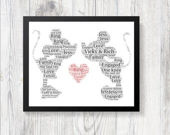 Personalised Mickey Minnie DISNEY Word Art Print Gift Keepsake Birthday Christmas Engagement Wedding Present