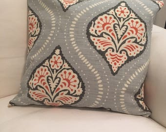 LuckyLeoDecor Retro Paisley Light Blue 18x18 Handmade Pillow Sham