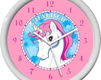 "Beautiful Unicorn Personalized 10"" Girl Nursery Wall Clock Gift Shower Gift"