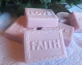 Fresh pink roses organic goats milk bar soap, handmade, inspirational Faith Love Hope