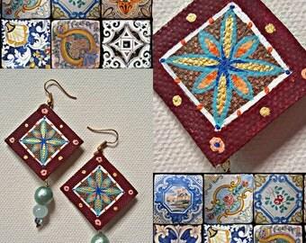 Maiolica Earrings , dangle earrings, geometric earrings, handmade earrings, statement earrings, gift