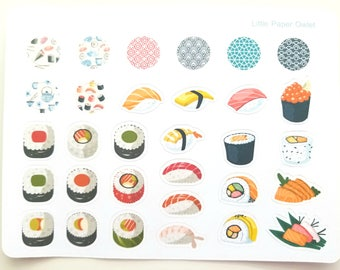 Sushi Sashimi Cute Kawaii Japanese Food Planner Scrapbook Journal Stickers