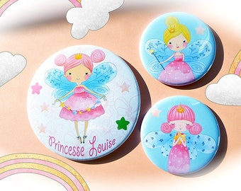Set below a glass and 2 Magnets 'Little Princess' / customizable