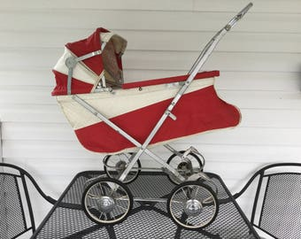 Playtime 50s Doll Carriage, Red and White Folding Doll Buggy