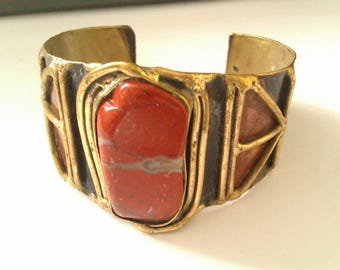 tribal style brass bangle