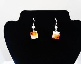 Orange Swirl Square Drop Earrings