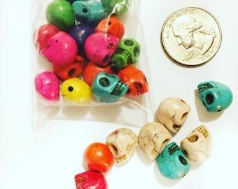 Dyed Howlite Skull Beads