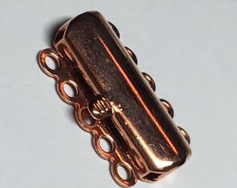 Clasp, 5 strand, 15 x 30mm, push pull type, copper plate, CLSP15cp, 1 set