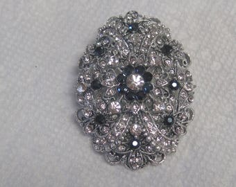 Silver and Black Brooch