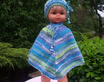 Clothes for dolls 50/55cms or poncho and hat reborn baby