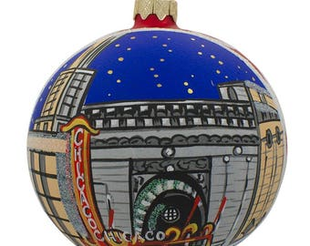 "4"" Chicago by Night Glass Ball Christmas Ornament"