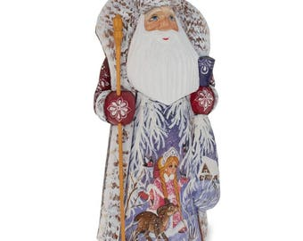 """9.5"""" Hand Carved Wooden Russian Santa Ded Moroz Figurine"""