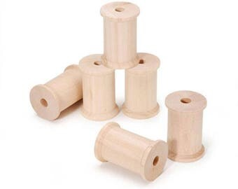 "2.25"" Set of 6 Blank Unfinished Wooden Spools"