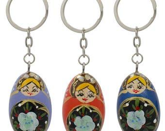 3 Metal Russian Nesting Dolls Keychains