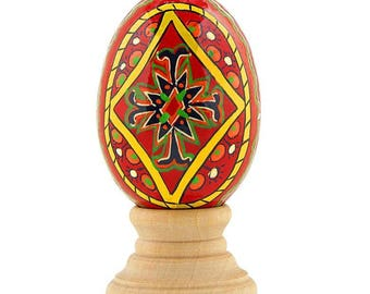 "2.75"" Red Diamond Hand Painted Wooden Pysanky Easter Egg"