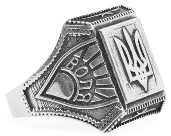 Sterling Silver Ukrainian Trident Tryzub Ring (Size 10)