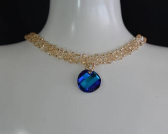 Swarovski crystal necklace Twist crystal bermuda blue and crystal golden shadow necklace