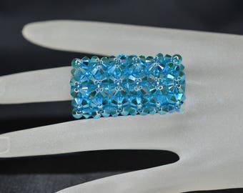 Swarovski crystal ring rectangle turquoise ab2x big volume