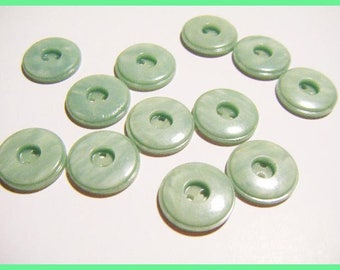 Green set of 12 vintage buttons of water 1.4 cm