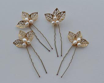 Set of 4 gold leaf and freshwater pearl hair pins bridal bridesmaid hair accessories