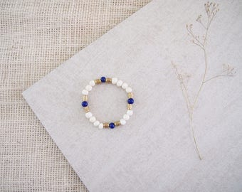 Persian Blue Bracelet // Bone, Brass, & Glass Stretch Bracelet // African Stacking Bracelet // Kenya Jewelry