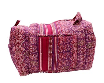 India Block Printed Banjara Handbag in Pink Color