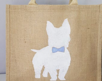 Westie with bow tie dog Hand painted jute shopping bag- large. Burlap gift bag, hessian tote bag. Dog lover gift. West highland Terrier