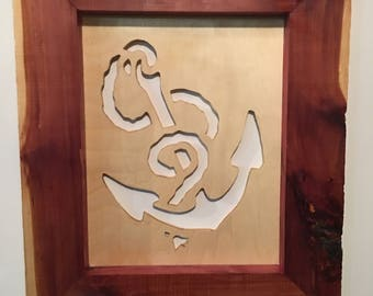 Anchor cutout framed in cedar.