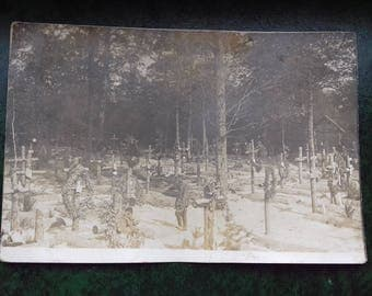 Vintage WW1 Cemetery Real Photo Postcard-Young Soldier on Cemetery- from Germany 1915/ vintage Graveyard Photography