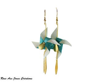 Earrings original blue origami