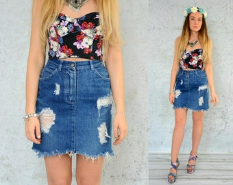 """Distressed denim skirt Mini vintage destroyed Frayed Cut off High Waisted jean grunge S Small size 28"""" waist"""