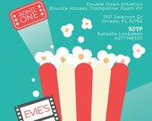 Recipe For Fun Birthday Party Invitations for Natasha - birthday party, invitation, movies, popcorn, ticket, cinema, projection