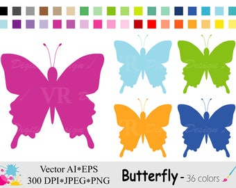 Rainbow Spring Butterfly Clip Art, Butterflies Clipart, Butterfly Silhouette Planner Stickers Clipart, Digital Download Vector