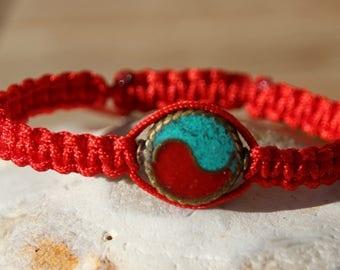 ethnic shamballa bracelet with Tibetan turquoise and coral
