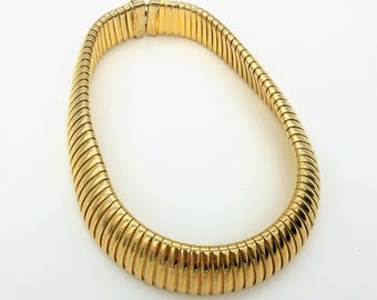 """Wide Vintage Ribbed Gold Tone Collar Necklace - 16.5"""""""