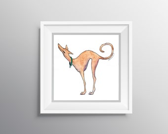 Good Morning Tesla - Physical Print of Sleepy Stretching Greyhound Illustration (Multiple Sizes)
