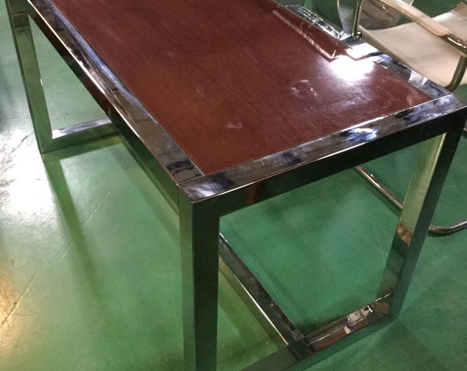 Ca.1970s Chrome and Wood Lacquered Top Desk or Console Table