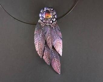 Purple feather pendant Fantasy jewelry Fantasy pendant Handmade feather pendant necklace Whimsical pendant Polymer clay feather pendant