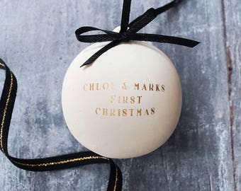 Gold Personalised Couples Bauble