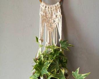 Small modern macramé plant hanger with upcycled bangle hoop