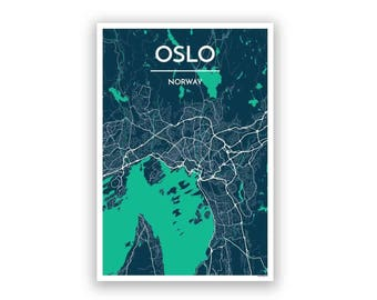 Oslo Map Etsy - Norway map poster