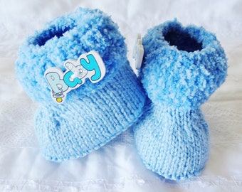 Blue boots knitted baby from 0 to 3 months - blue slippers for baby - baby shoes
