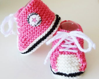 sneakers baby pink and white wool 1/6 months