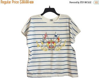 SALE Vintage Striped Nautical Sailor Anchor/Life Preserver Ladies T-Shirt Large/XL Free Shipping!