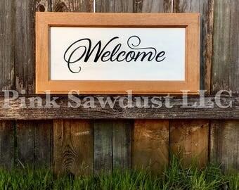 Rustic Handmade Reclaimed Repurposed White Welcome Cabinet Door