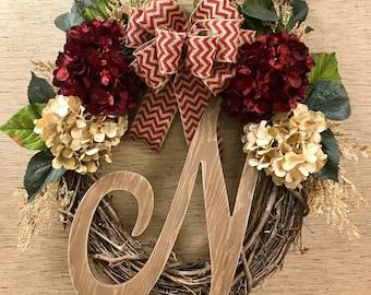 Grapevine initial wreath
