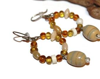 OOAK Vintage Handmade Earrings, Brown Glass Beaded Earrings, Natural Colors, Fall Colors, Fall Jewelry, Vintage Jewelry, Vintage Earrings